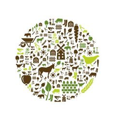 Farm icons in circle vector