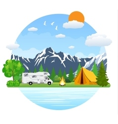 Forest camping landscape with rv traveler bus in vector image