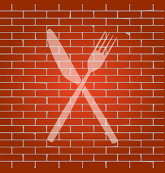 Fork and knife sign whitish icon on brick vector