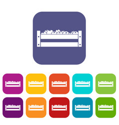 fresh vegetables in a box icons set vector image