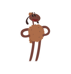 Funny sheep character holding hands on its waist vector