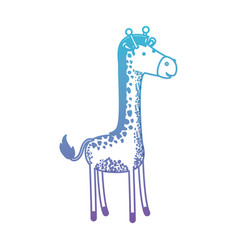 Giraffe cartoon in degraded blue to purple color vector