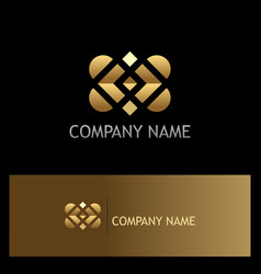 gold square shape geometry logo vector image