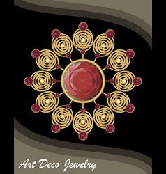 golden antiquarian jewel in art deco style vector image