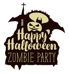 halloween inscription with pumpkin bat and church vector image vector image