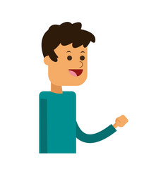 Happy young man with arm up icon image vector