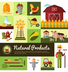 Organic Farm Products Flat Design vector image