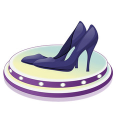 pair of dark blue shoes with high heels vector image vector image