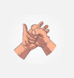 Realistic hands - gestures hand painted fist on vector