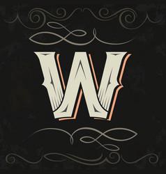 Retro style western letter design letter w vector