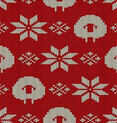 Seamless Knitted Pattern With Trees Royalty Free Vector