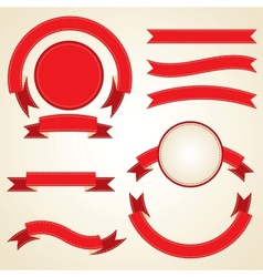 Set of curled red ribbons vector image