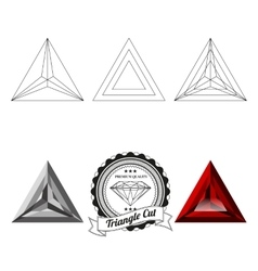 Set of triangle cut jewel views vector