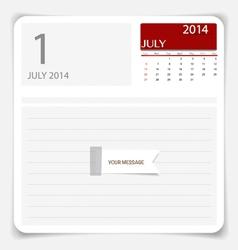 Simple 2014 calendar July vector image vector image