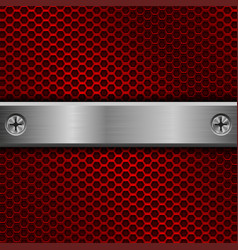 Steel long plate with screws on red perforated vector