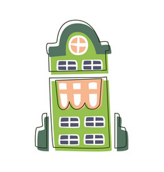 Tall green building with big windows cute fairy vector