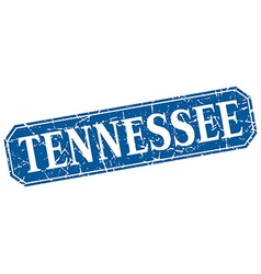 Tennessee blue square grunge retro style sign vector