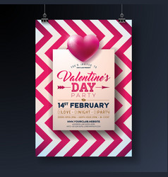 Valentines day party flyer design with holiday vector