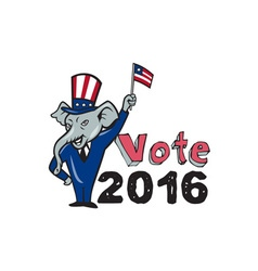 Vote 2016 republican mascot waving flag cartoon vector