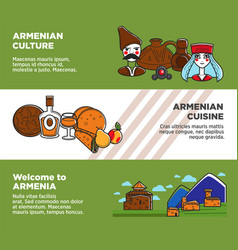 Welcome to armenia promotional banners with vector
