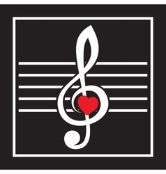 with treble clef and heart on black vector image vector image