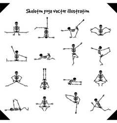 Skeletons in yoga poses vector image
