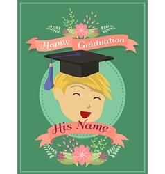 Happy graduation green boy greeting card vector