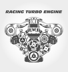 racing engine with supercharger power - turbo moto vector image
