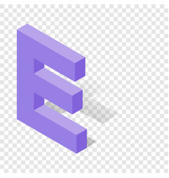 e letter in isometric 3d style with shadow vector image