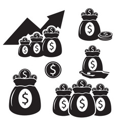 Silhouettes with bags of money with coins of gold vector