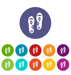 Orthopedic insoles icons set flat vector