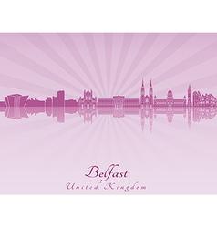 Belfast skyline in purple radiant orchid vector