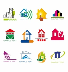 Set of logos construction and houses stock vector