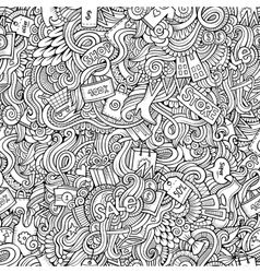 hand drawn sale shopping seamless pattern vector image