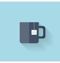 Flat web icon tea cup vector