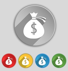 Money bag icon sign symbol on five flat buttons vector