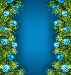 Winter holiday wallpaper with fir sprigs and glass vector