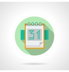 Round flat icon for tear-off calendar vector image