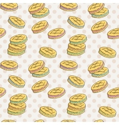 Seamless pattern of double cookies with a layer of vector