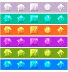 Cartoon diamonds set in editable different colors vector