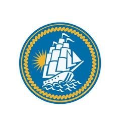Sailing Tall Ship Galleon Retro vector image