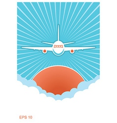 Airplane in blue sky and sun background vector image