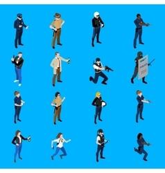 Police isometric icons vector