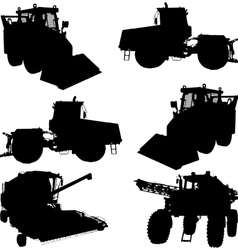 Agricultural vehicles silhouettes vector image