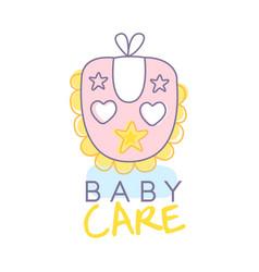 Baby care logo design emblem with pink baby bib vector