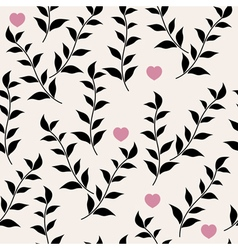 Black leaves and hearts vector