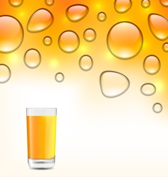 Clean Water Droplets with Orange Juice vector image