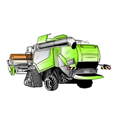 colored sketch of big harvester vector image vector image
