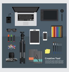 creative tool workspace isolated vector image