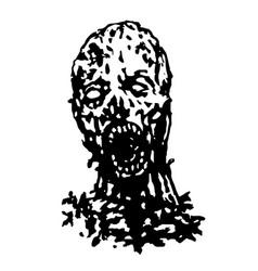 cruel zombie head vector image